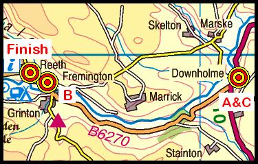Map of the Downholme Bridge area