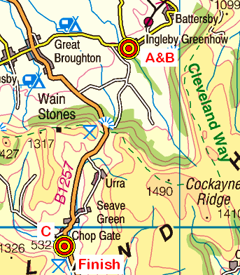 Map of the Ingleby Greenhow - Chop Gate area