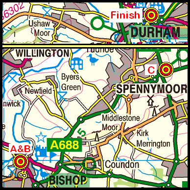 Map of the Bishop Auckland to Durham area