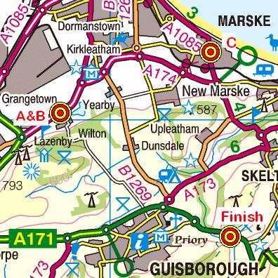 Map of the Wilton - Slapewath area