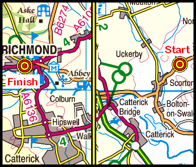 Map of the Slopes Bridge to Richmond area