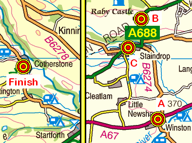 Map of the Winston to Cotherstone area