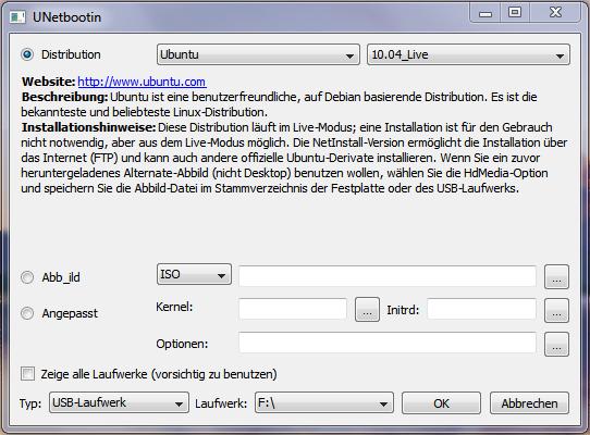 linux auf usb stick installieren download