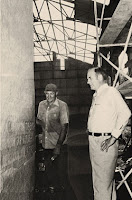 The team that built the Guidestones didn't know who was financing the project—just that it was the biggest monument in county history. Local banker Wyatt Martin inspects the English lettering with sandblaster Charlie Clamp before the 1980 unveiling. Photo: Courtesy of Fendley Enterprises Inc.