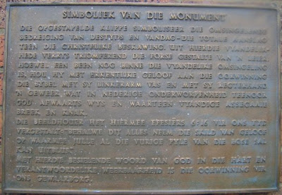 Symbolism of Vegkop Monument, at 1836 Vegkop Battleground, Heilbron; Sept 27 2009