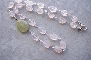 rose quartz prehnite necklace