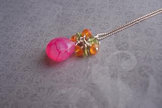 chalcedony carnelian peridot necklace