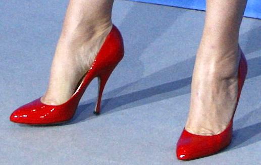 pair of heels in red in