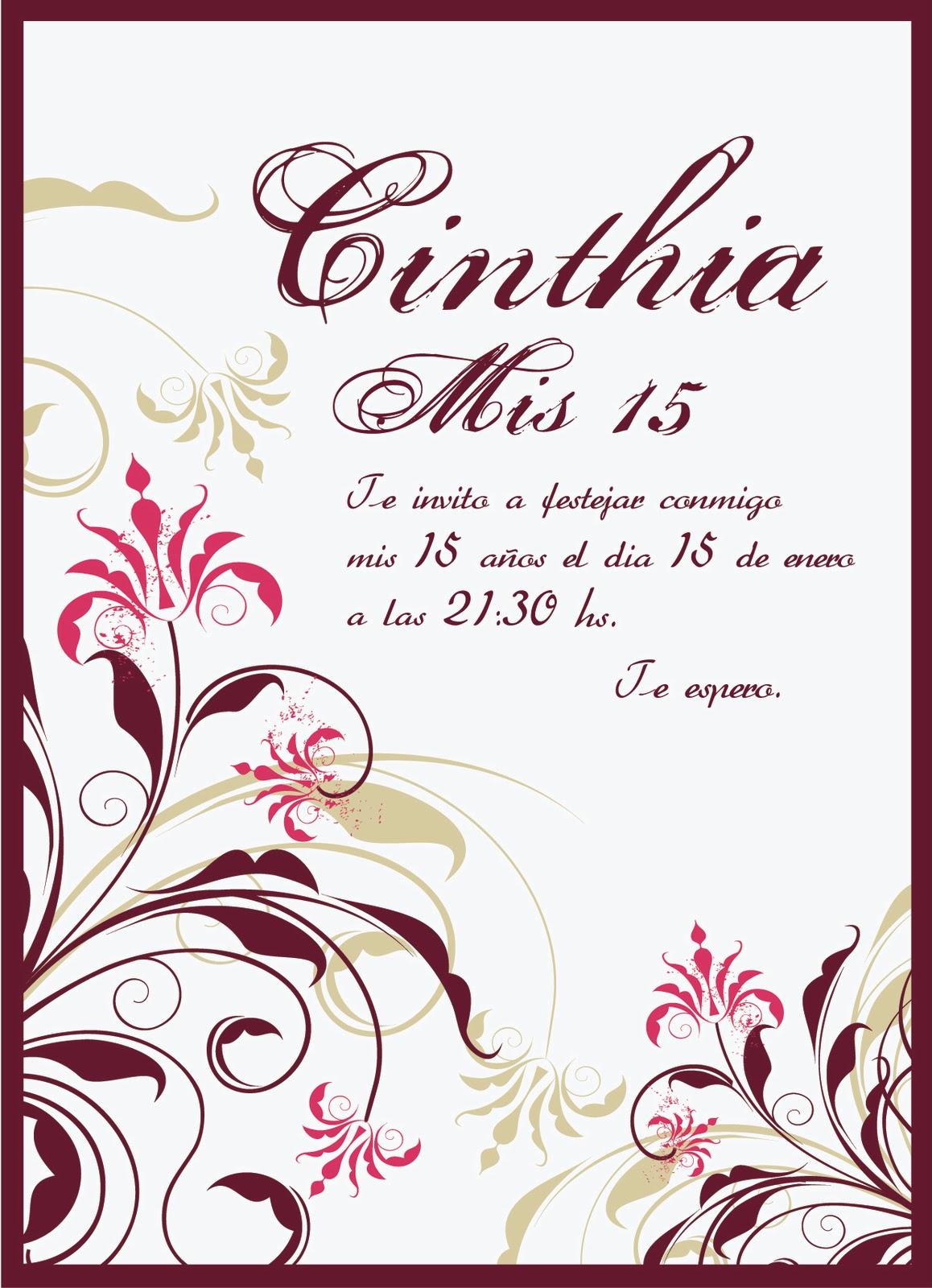 tarjeta de invitacion para cumpleanos de 15 montada sobre cartulina