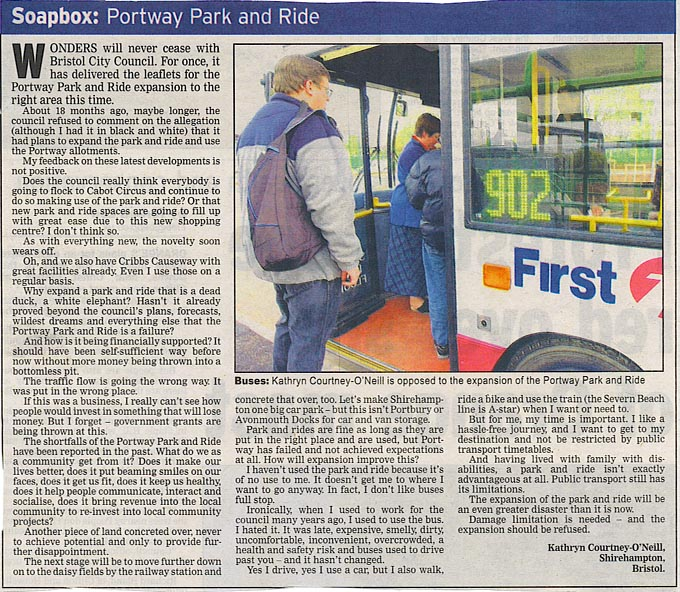 Bristol Evening Post Soapbox Letter