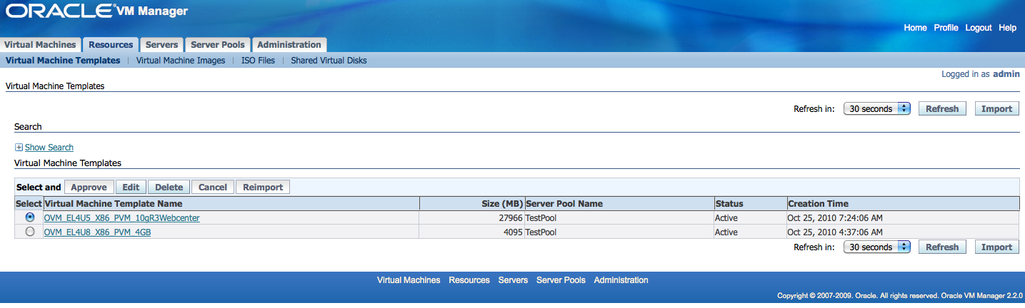301 moved permanently for Download oracle vm templates