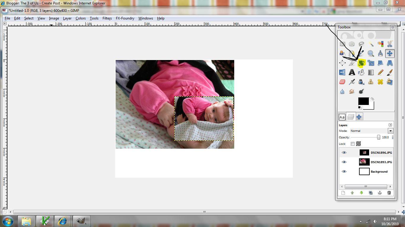fotomontaje herramienta rotacion