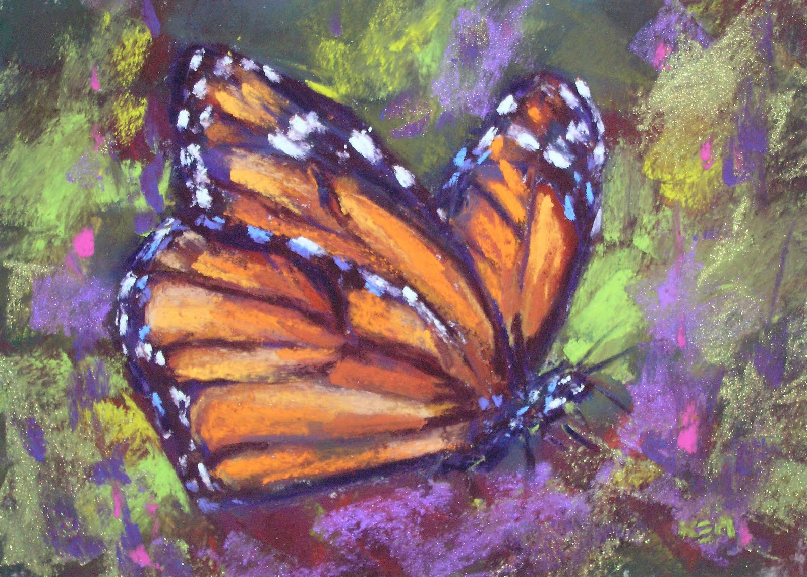 painting my world monarch butterfly original pastel painting