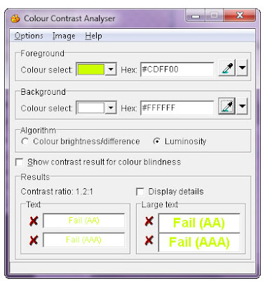 screen shot of the Contrast Analyzer results window after analyzing the Yahoo! Media Player buttons. Results at all levels show FAIL