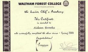 My Junior Chef's Academy certificate