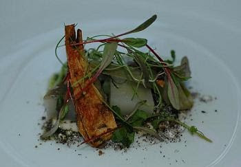 """Salad of Artichokes and fresh goat's cheese"" - a very clever and elegant dish - perfection on a plate"