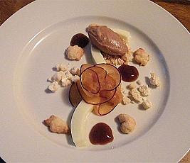 Cabrales Cheesecake with Pickled Plum Sorbet, Sablee Nuggets, Cabrales Crumble, Plum Slices & Plum Coulis