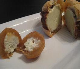 Profiterole of Blue Cheese Ice Cream with Li Hing Mui Coating, paired with a Blue Cheese Stuffed Umeboshi