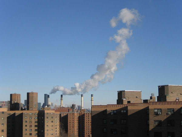 Smokestack Curl - Rising from the 14th St. power plant, from the Williamsburg Bridge.