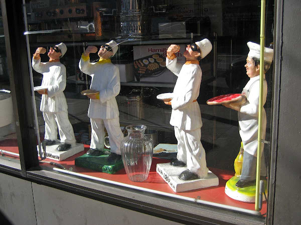 Yawning Chefs - At Bari's restaurant equipment store on Bowery.