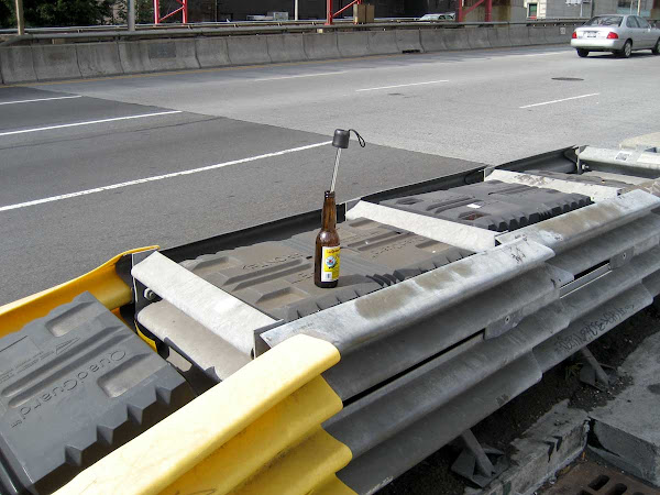 Drunk Driving - A beer bottle gearshift someone left at the Brooklyn end of the Williamsburg Bridge.