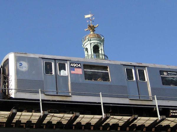 M Train Dome - Bank dome sitting atop M Train on the incline to the Williamsburg Bridge.