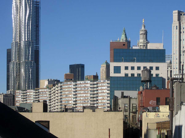 Downtown Wave Action - Flowing down the Gehry tower, up into the Chatham Green Houses; from the Manhattan Bridge.