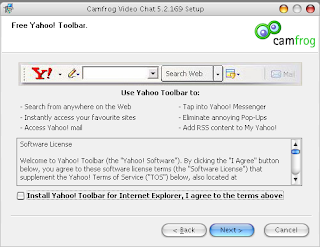 Klik Install Yahoo! Toolbar for Internet Explorer, I agree to the