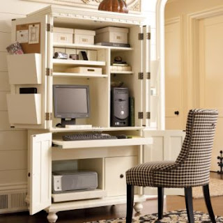 Girl meets home an armoire or hidden office - Small office space solutions plan ...