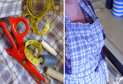 recycled mans shirt into an apron