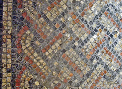 roman mosaic at roman baths in bath