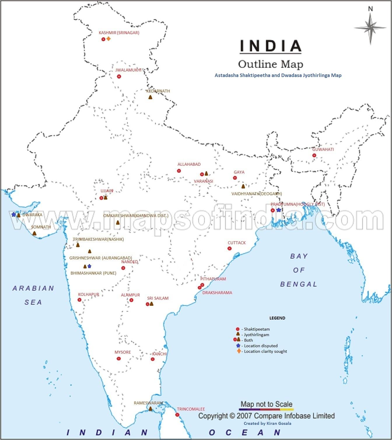 astadasa shaktipeetha and dwadasa jyothirlinga map
