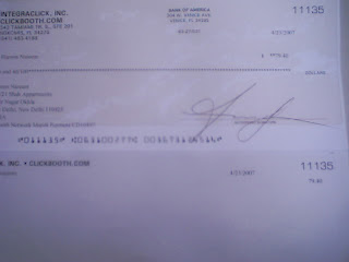 cheque from Clickbooth