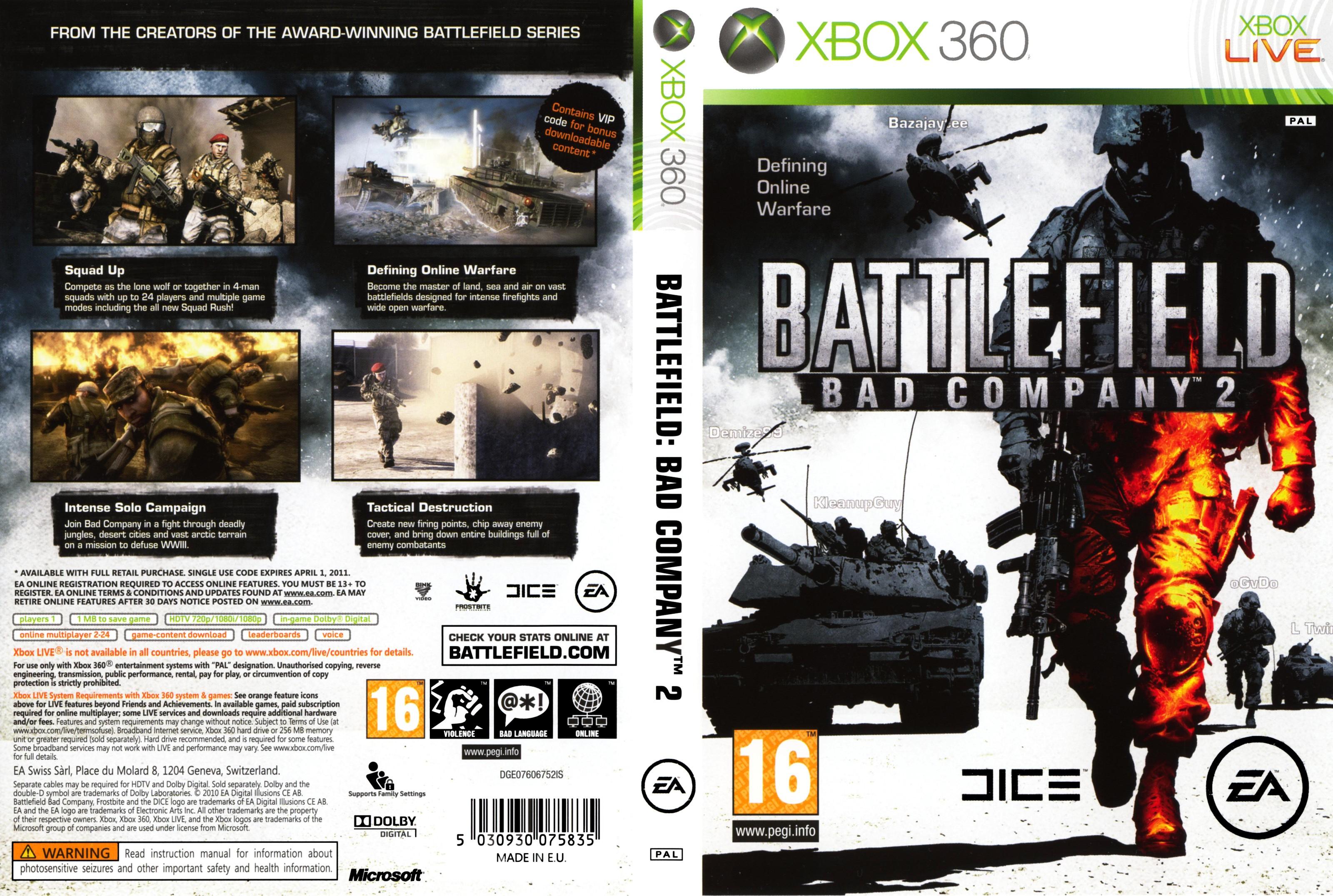 Capa Battlefield Bad Company 2 Xbox 360