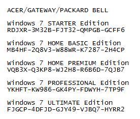 gateway laptop windows 7 product key