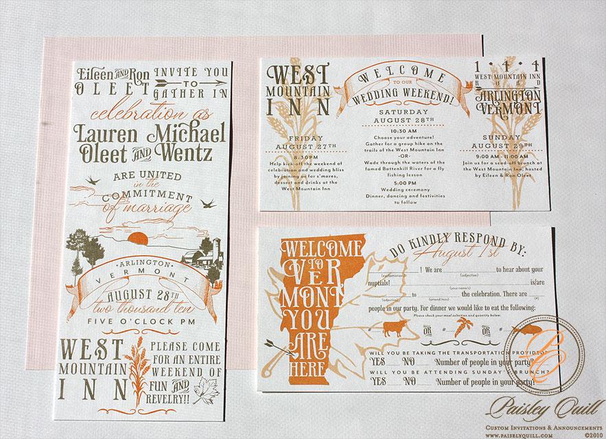 Paisley Quill: Vintage Vermont Wedding Invitations