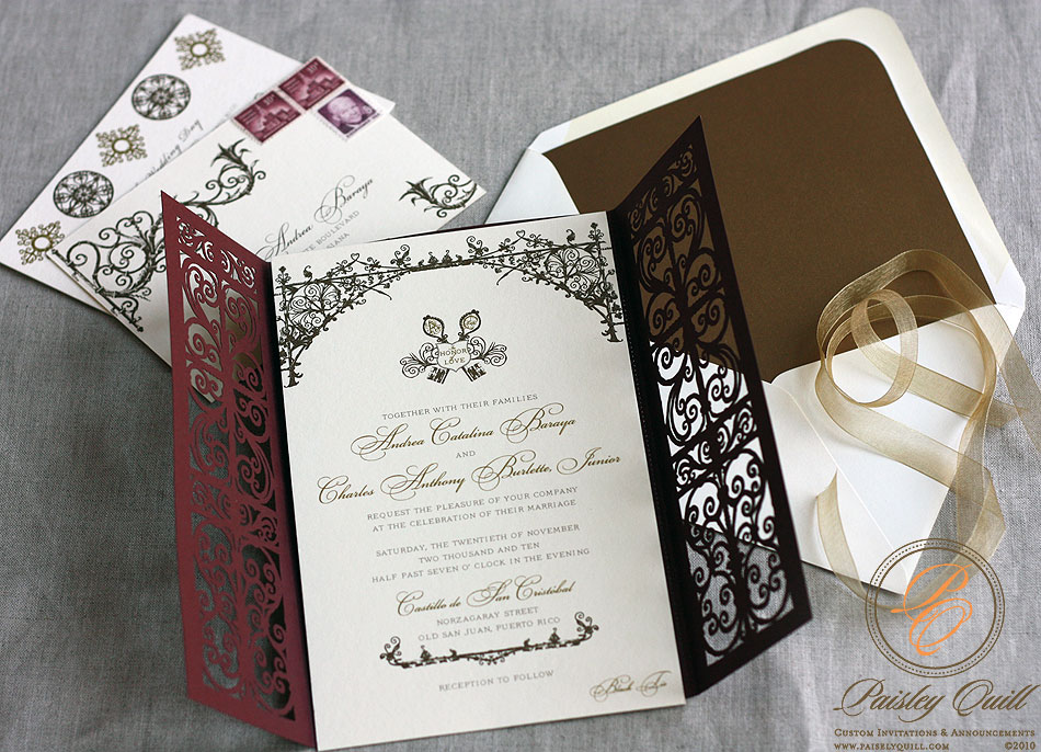 Paisley quill spanish style laser cut invitations stopboris Image collections