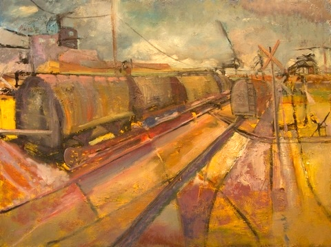 Original train in train yard oil painting by Gabriel Boray