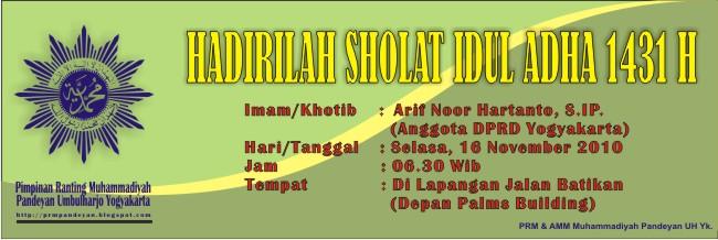 Arif Nor Hartanto, S.IP, Khotib dan Imam Sholat Idul Adha 1431 H