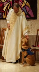 Priest and Lilly the dog