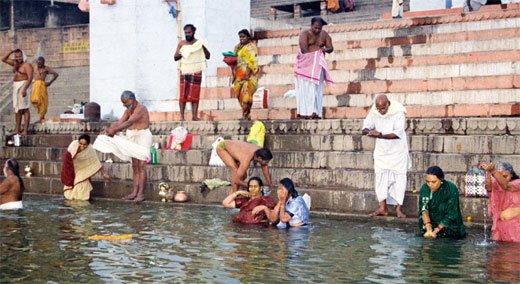 Bathing In River Or Nadi Snanam
