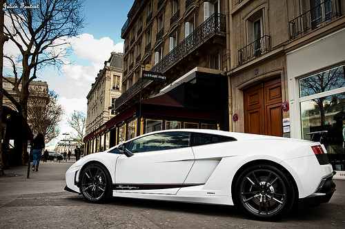 White Lamborghini Gallardo LP570-4 Superleggera Side View