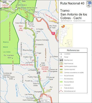 mapa Ruta 40 Cachi, San Antonio de los Cobrs