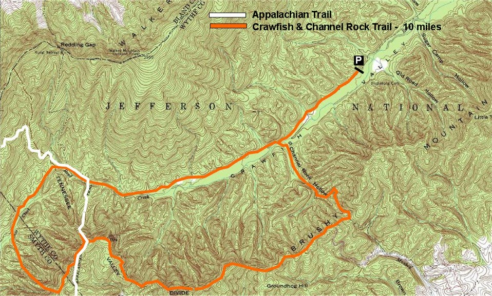 Gone Hikin Jefferson National Forest Crawfish Valley Rural - Appalachian trail topo map