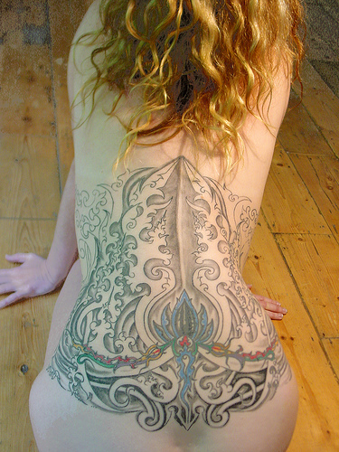 female back tattoo. female back tattoos.