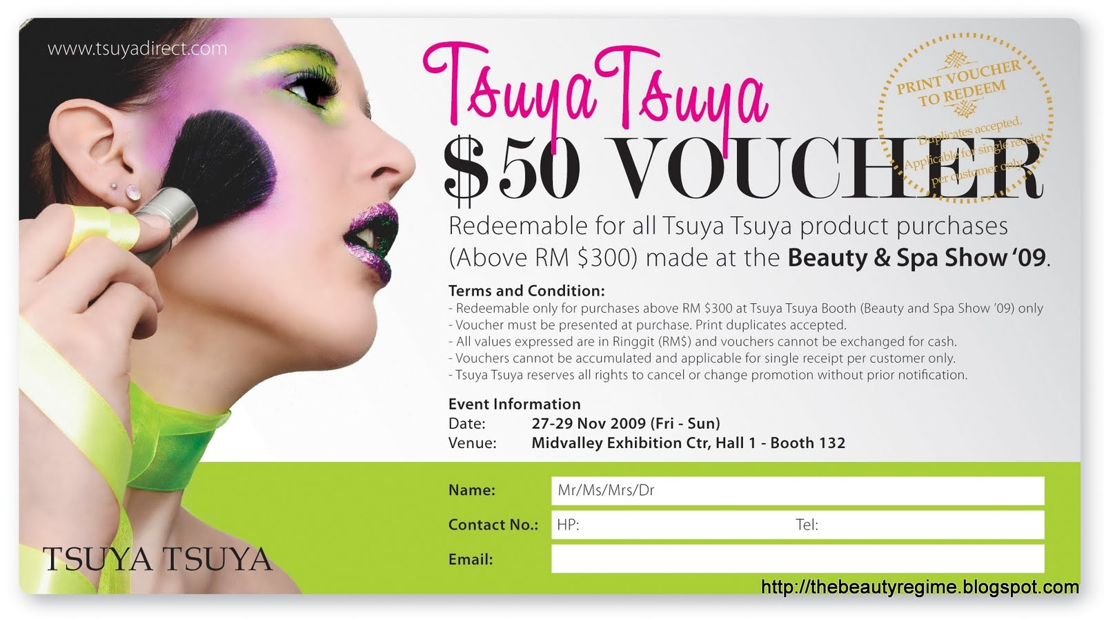 The Beauty Regime TsuyaTsuya MakeUp Workshop Beauty Spa – How to Make Vouchers