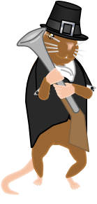 Image: My mouse avatar, still in his Thanksgiving clothes, gleefully squeezes the barrel of his blunderbuss.