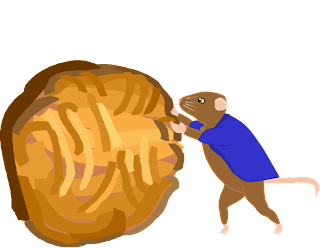 Image: Frank the mouse rolls an oatmeal cookie slightly larger than himself.