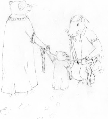 The rat reaches a female rat in a dress, holding her young daughter's hand. The daughter is in a similar dress. Both stand behind a small barrier composed of two twigs (waist-high for the adult rats) with a small string spanning between them. The rat in the jagged shirt bends down, and proceeds to remove the string.
