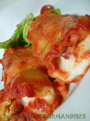 Roulés de lasagnes  aux épinards et à  la ricotta.